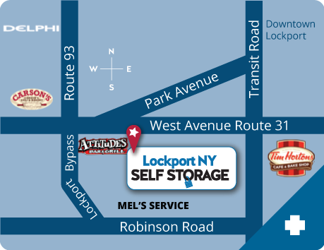 Lockport NY Self Storage Map